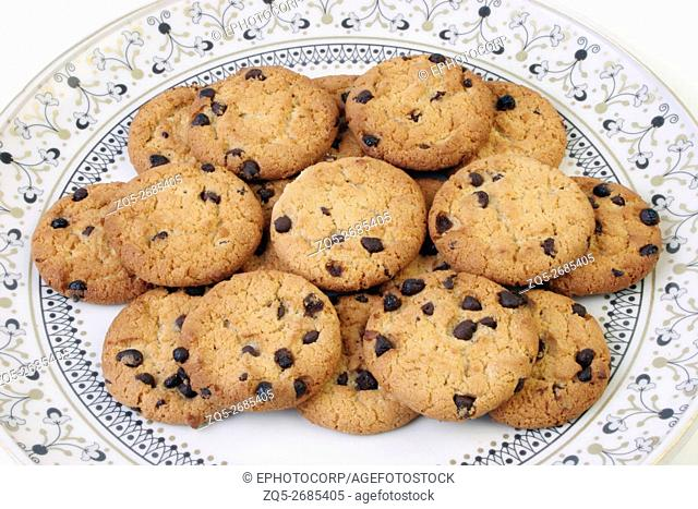 Closeup of Chocolate Chip Cookies in a dish