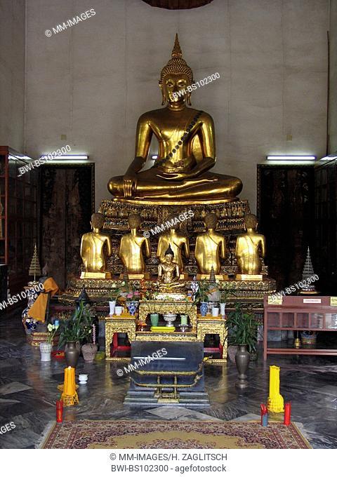 Temple Wat Pho, Buddha sculpture meditating, Thailand, Bangkok
