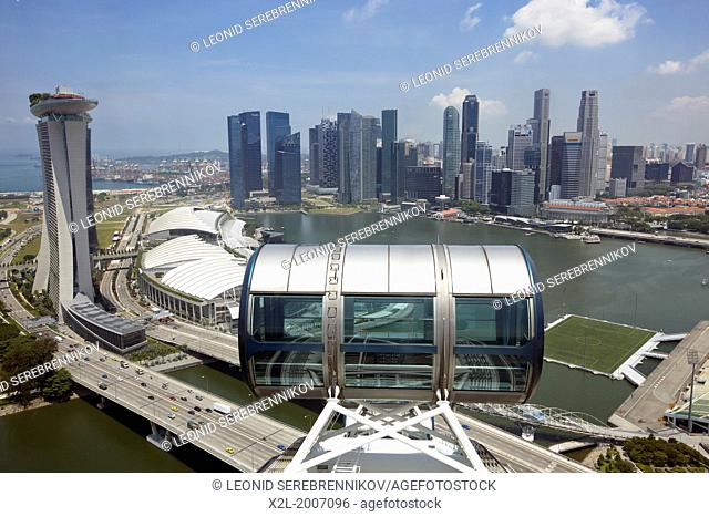 Elevated view of Marina Bay from Singapore Flyer observation wheel, Singapore