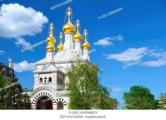 Dome of Russian orthodox church in Geneva