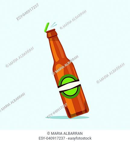 Opening beer bottle on a blue background. Vector illustration