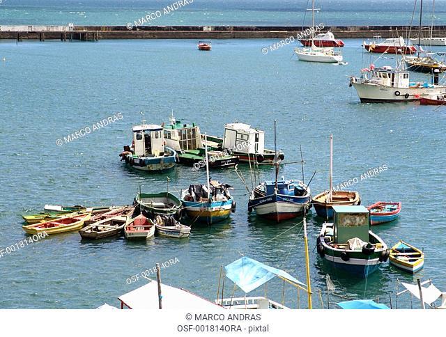 salvador boats anchored on the sea