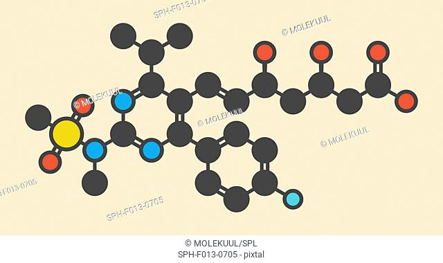 Rosuvastatin cholesterol lowering drug (statin class) molecule. Stylized skeletal formula (chemical structure). Atoms are shown as color-coded circles: hydrogen...