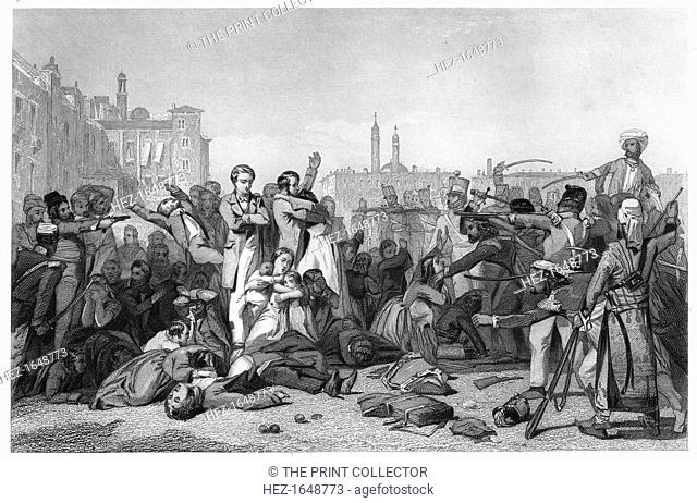 'Massacre at Cawnpore', 1857, (c1860). Massacre of British civilians in what is now known as Kanpur, India. Illustration from The History of the Indian Mutiny
