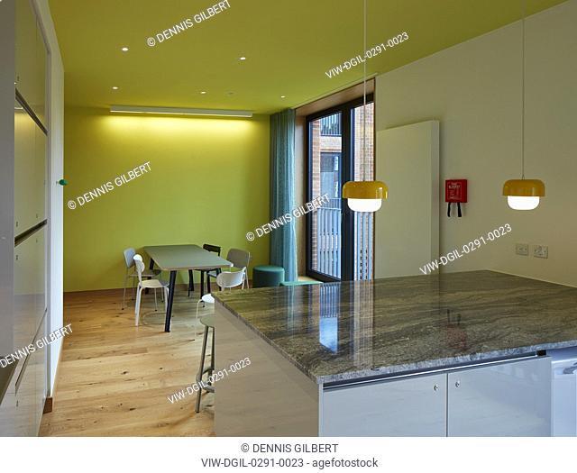 Student kitchen and social space. Newnham College, Cambridge, Cambridge, United Kingdom. Architect: Walters and Cohen Ltd, 2018
