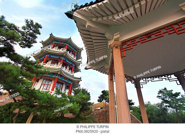 Asia, China, Shandong Province, Qingdao. Temple in Xiao Yushan Park. Little fish hill