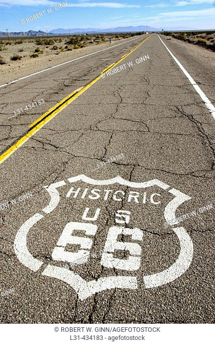 Route 66 in high California desert near Amboy on pavement