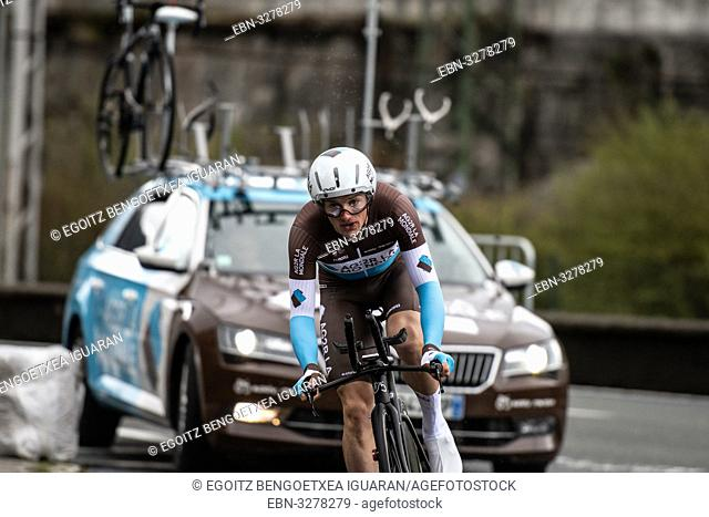Mathias Frank at Zumarraga, at the first stage of Itzulia, Basque Country Tour. Cycling Time Trial race
