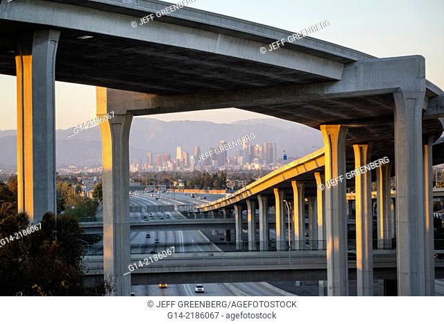 California, CA, Los Angeles, L.A., Interstate 110 105, I-110 I-105, Harbor Freeway, highway, overpass, freeway, motorway, interchange, junction