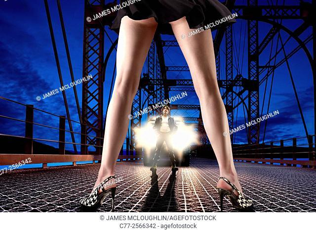 woman, legs, bridge, truck, man, nighy, heels