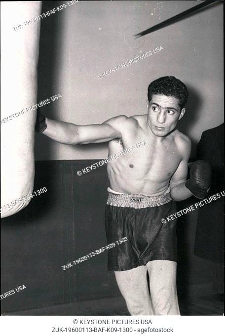 1956 - French boxer Serphin Ferrer is completing his training before meeting Italian champ Duilio Foi for the European Title in Light weight