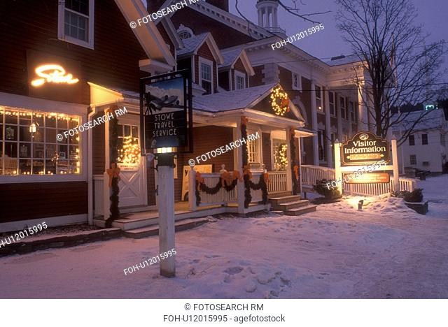 Stowe, ski resort, evening, village, snow, holiday, decorations, Christmas, winter, Vermont, The Visitor Center in the village of Stowe is decorated for the...