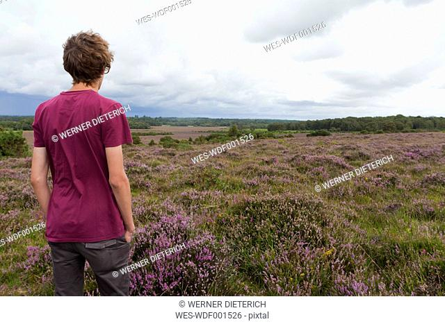England, Hampshire, Teenage boy standing in New Forest National Park