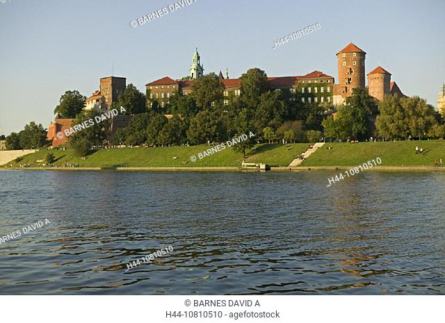 castle, cathedral, Cracow, mountain, Poland, Europe, river, Vistula, Wawel