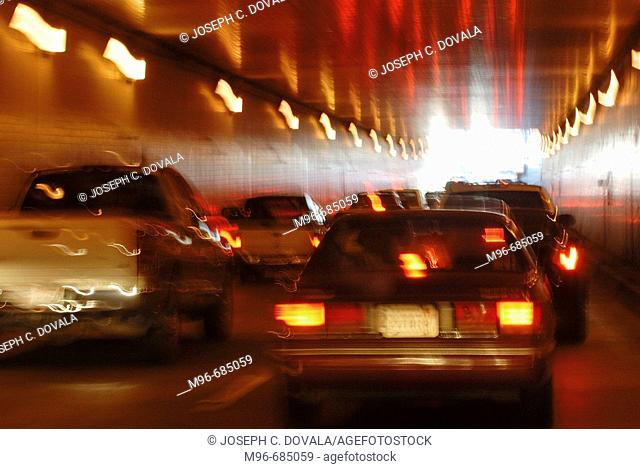 Autos driving through tunnel motion Monterey, CA. USA