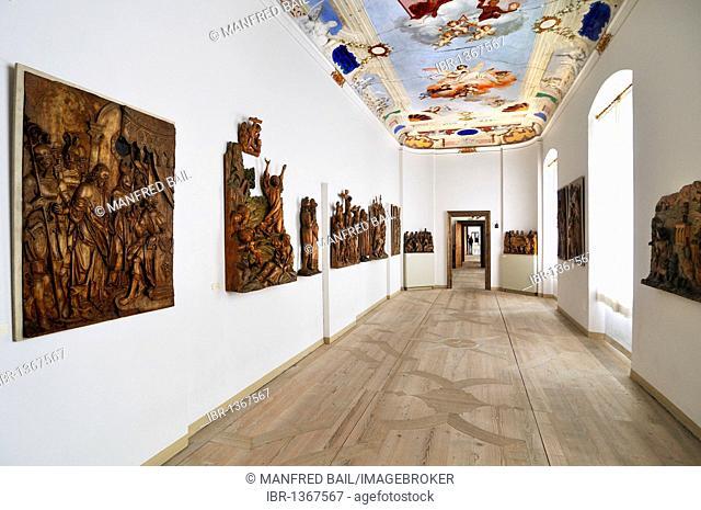 Room with wooden reliefs in the Benedictine Abbey in Ottobeuren, Bavaria, Germany, Europe