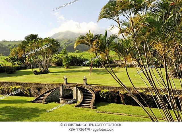 gardens of the Castle of the Rum Depaz distillery at the foot of the Mount Pelee, Martinique, french island overseas region and department in the Lesser...