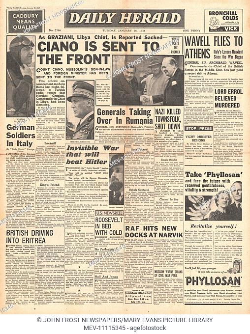 1941 front page Daily Herald Mussolini sacks Count Ciano and Marshal Graziana and Lord Erroll shot in Kenya
