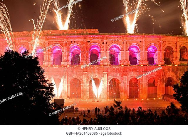 France, Gard Arenas of Nimes, Fireworks and set of lights for the 14 july