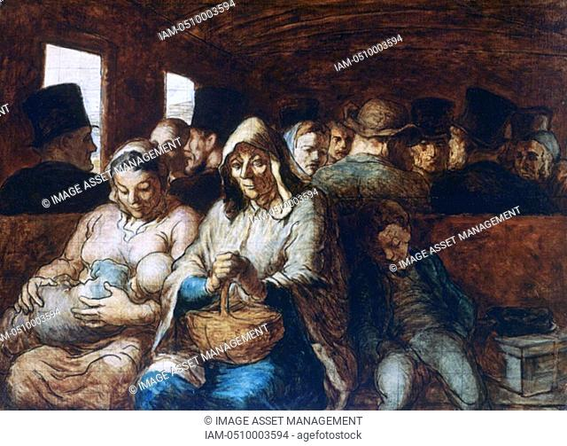 Honore Daumier 'The Third Class Carriage', c18631865  Found in the collection of the The Metropolitan Museum of Art, New York
