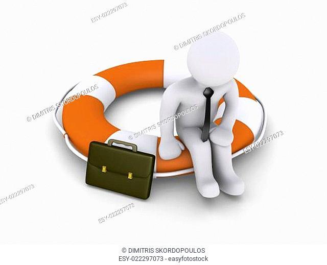 Businessman sitting on lifebuoy