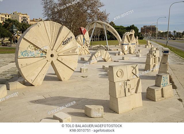Conjunt escultòric del Parc de la Mar, Josep Guinovart, - Equip Zócalo -, . 1984 - 1986, Marés y cemento armado, Parc de la Mar, Palma, Mallorca