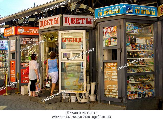 Kiosks, Sennaya square, the Haymarket, central Saint Petersburg, Russia, Europe