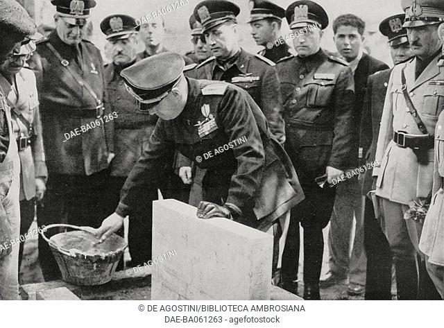 Galeazzo Ciano laying the first stone for the Tomori fascist newspaper's headquarters, Tirana, Albania, from L'Illustrazione Italiana, 1940