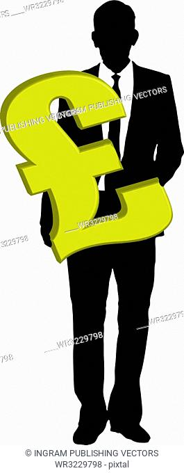 A business man holding a pound sign in gold
