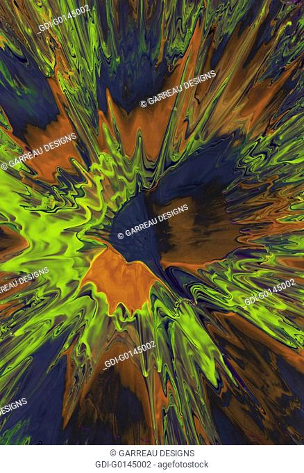 Green, orange and blue paint abstract background