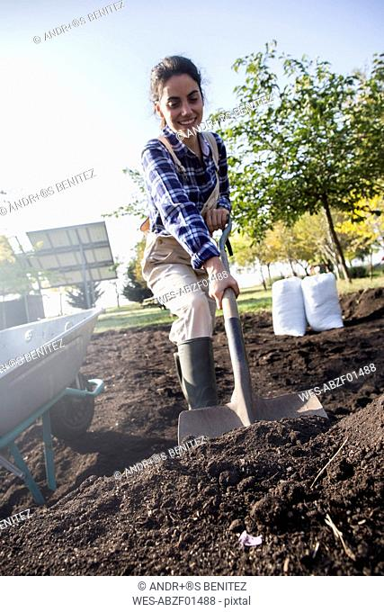Woman working on farm, preparing vegetable patch with shovel