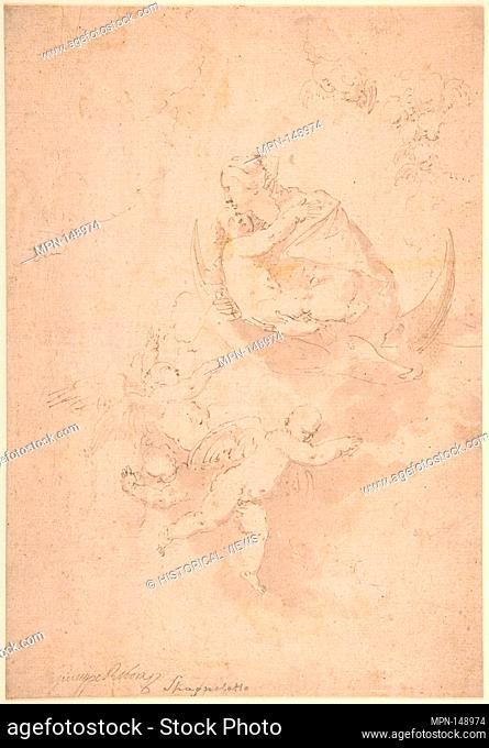 Virgin and Child on Crescent Moon with Putti. Artist: Jusepe de Ribera (called Lo Spagnoletto) (Spanish, Jótiva 1591-1652 Naples); Date: 1591-1652; Medium: Pen...