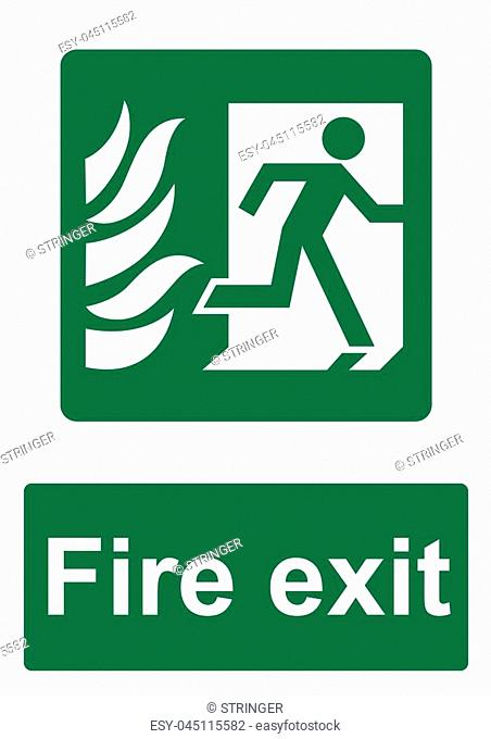 Green Fire Evacuation Sign isolated on a white background - Fire exit running through door on right