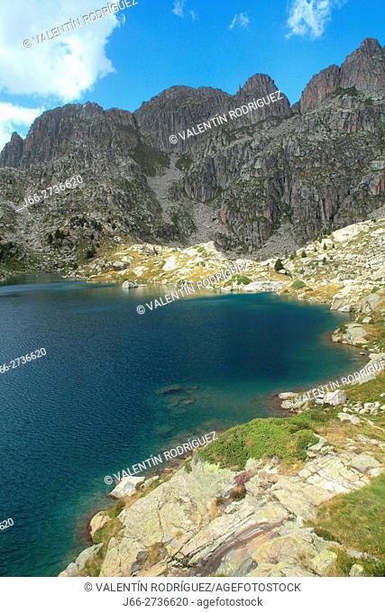 Lake Amitges in the National Park Aigüestortes y lake San Mauricio. Lérida