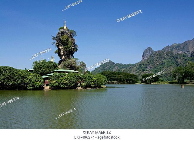 Kyauk Ka Lat Pagoda near Hpa-An, Karin State, Myanmar, Burma, Asia