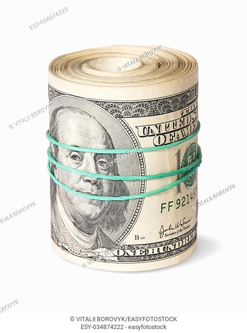 Roll Of One Hundred Dollar Bills Isolated On White Background