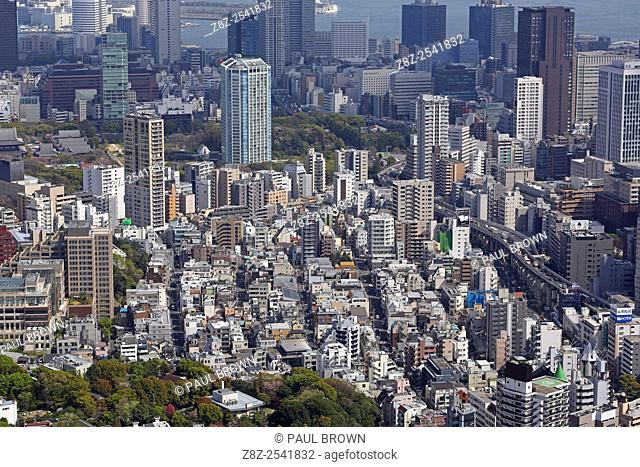 General aerial view of the city skyline of Tokyo, Japan