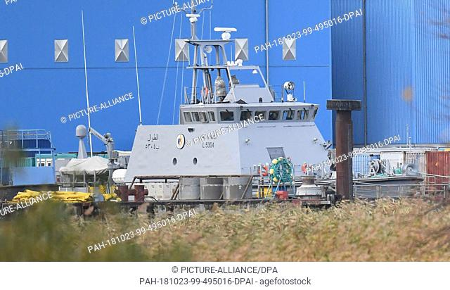 23 October 2018, Mecklenburg-Western Pomerania, Wolgast: A coastal protection boat for Saudi Arabia at the Peene shipyard of the Lürssen Group
