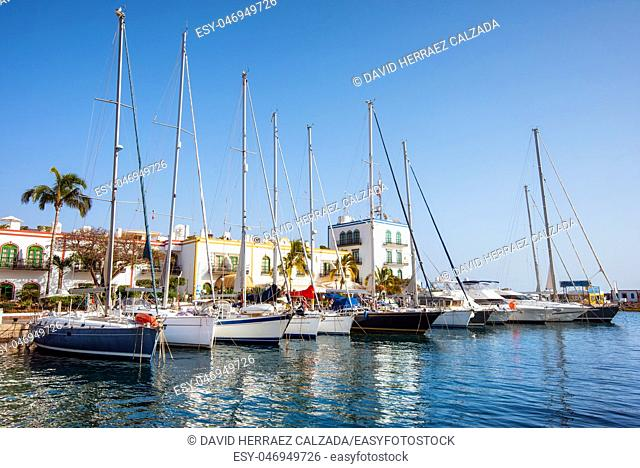 Puerto de Mogan marina, small fishing port, famous touristic destination in Grand Canary, Canary islands, Spain