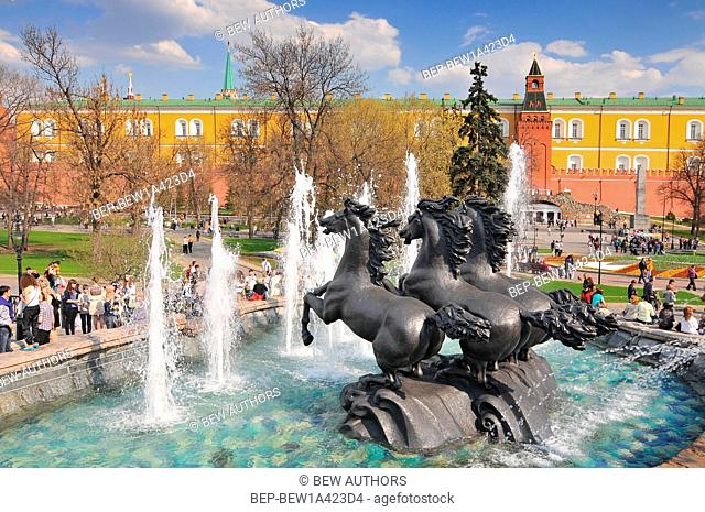 Russia, Moscow, Horses Fountain by Zurab Tsereteli in Alexander Garden in Moscow