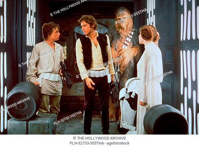 Mark Hamill, Harrison Ford, Peter Mayhew and Carrie Fisher, Star Wars Episode IV: A New Hope 1977 Lucasfilm Ltd