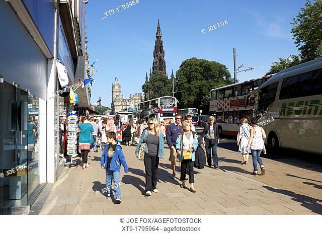 shoppers and tourists on princes street edinburgh scotland uk united kingdom