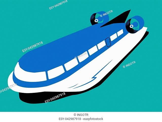 Retro hydrofoil flat, old hydrofoil ship flat illustration