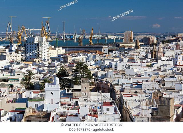 Spain, Andalucia Region, Cadiz Province, Cadiz, elevated city view from the Torre Tavira tower