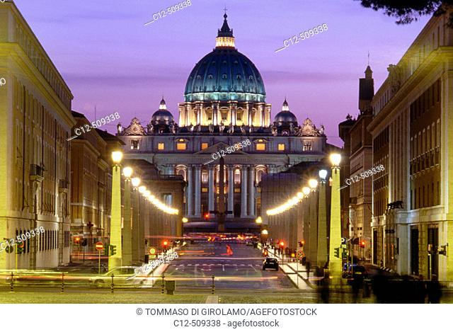Via Conciliazione with St. Peter's Basilica in background at night, Vatican City, Rome. Italy