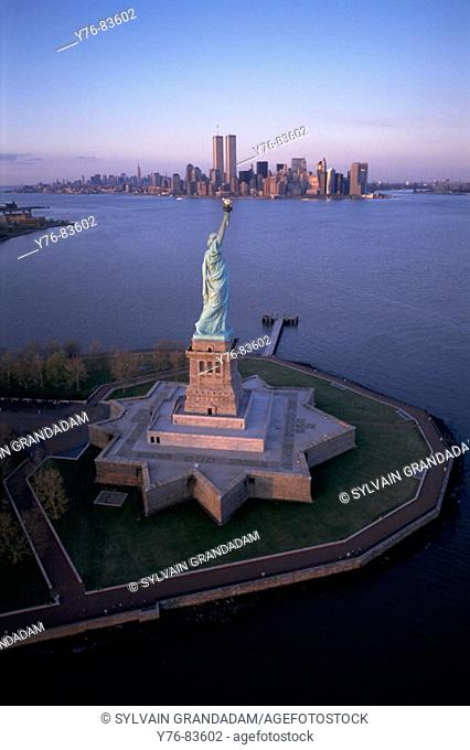 Statue of Liberty, aerial. New York City. USA