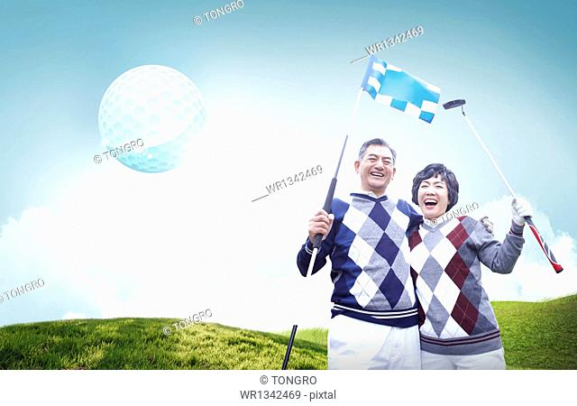 an old couple playing golf