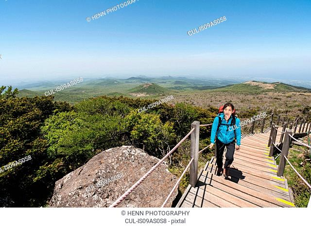 Mature woman hiking up wooden steps, Hallasan Mountain, Jeju Island, South Korea