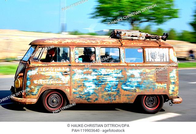 A VW T1 at the Maikaefertreffen (May Beetle Meeting) in Hanover (Germany), 01 May 2019. Fans and owners of Beetles and VW Transporters got together to show...