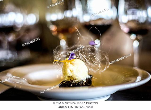 Gourmet food of ice cream with brownie, Mendoza, Argentina